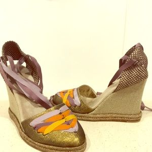 Marc Jacobs Ribbon Gold Round Toe Espadrilles